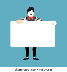 Mime holding banner blank. pantomime and white blank. mimic joyful emotion. place for text. Vector illustration