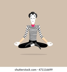 A Mime performing a pantomime called meditation
