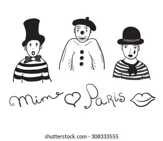Mimes black and white