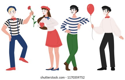 Mimes man and woman pantomime vector illustration. Cartoon clown girl and boy characters in costume and hat with face mask and funny mimic pose for flower, ballon and heart