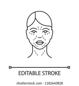 Mimic wrinkles linear icon. Facial skin after thirty. Thin line illustration. Face ageing. Facial markup for cosmetic procedure. Contour symbol. Vector isolated outline drawing. Editable stroke