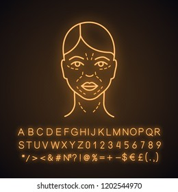 Mimic wrinkles neon light icon. Facial skin after thirty. Face ageing. Facial markup for cosmetic procedure. Glowing sign with alphabet, numbers and symbols. Vector isolated illustration