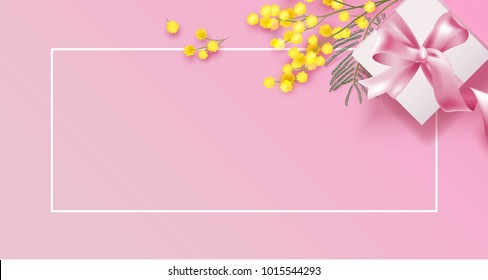 Mimosa branch and gift box on pink background. Beautiful spring background with place for text. Vetor illustration