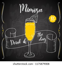 Mimosa cocktail. Hand drawn drink on white background. Vector illustration.