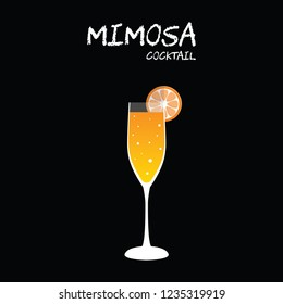 Mimosa cocktail illustration vector with orange wedge garnish on square black background.