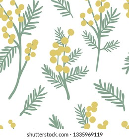 Mimosa seamless pattern. Floral simple spring or summer graphic design for paper, textile print, page fill. Yellow flower background. Hand drawn modern and original texture