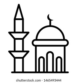 Minaret and dome mosque icon. Outline minaret and dome mosque vector icon for web design isolated on white background
