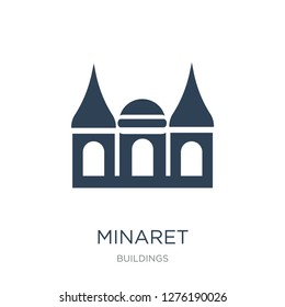 minaret icon vector on white background, minaret trendy filled icons from Buildings collection, minaret vector illustration