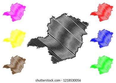Minas Gerais (Region of Brazil, Federated state, Federative Republic of Brazil) map vector illustration, scribble sketch Minas Gerais map