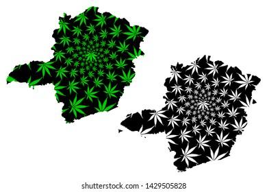 Minas Gerais (Region of Brazil, Federated state, Federative Republic of Brazil) map is designed cannabis leaf green and black, Minas Gerais map made of marijuana (marihuana,THC) foliage