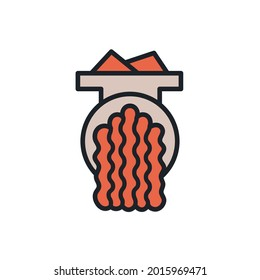 Mince icon. Mincemeat, forcemeat, minced meat illustration. Vector isolated linear color icon contour shape outline. Thin line. Modern glyph design. Meat products. Food ingredients