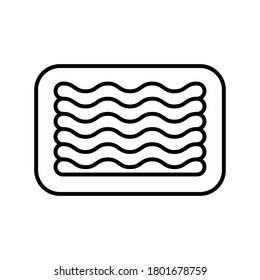 Minced meat in tray. Linear icon of industrial packaging of semi-finished meat products. Black simple illustration of ground-meat. Contour isolated vector pictogram on white background