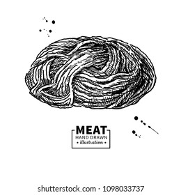 Minced meat vector drawing. Hand drawn ground beef, pork, chicken forcemeat. Raw food ingredient. Vintage sketch. Butcher shop product. Great for label, restaurant menu.