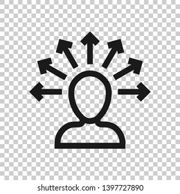 Mind awareness icon in transparent style. Idea human vector illustration on isolated background. Customer brain business concept.