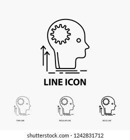 Mind, Creative, thinking, idea, brainstorming Icon in Thin, Regular and Bold Line Style. Vector illustration