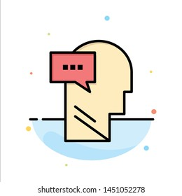 Mind, Dialog, Inner, Head Abstract Flat Color Icon Template