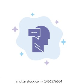 Mind, Dialog, Inner, Head Blue Icon on Abstract Cloud Background. Vector Icon Template background