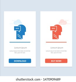 Mind, Dialog, Inner, Head  Blue and Red Download and Buy Now web Widget Card Template. Vector Icon Template background