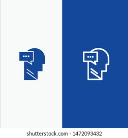 Mind, Dialog, Inner, Head Line and Glyph Solid icon Blue banner Line and Glyph Solid icon Blue banner