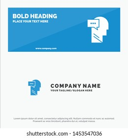 Mind, Dialog, Inner, Head SOlid Icon Website Banner and Business Logo Template