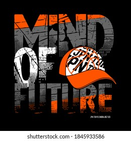 mind of future typography graphic design, for t-shirt prints, vector illustration.