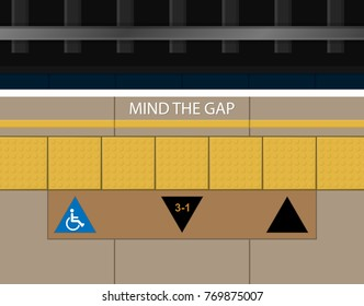Mind The Gap Between Platform Train Station Subway Railway Safety Queue Line Up Arrow Sign on Floor Tactile Paving Assist Blind People visually Impaired Indicator Guide Navigate Direction Warning