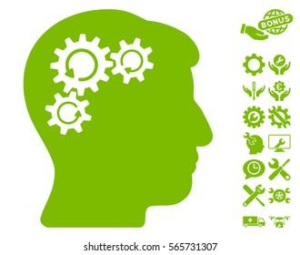 Mind Gear Rotation icon with bonus tools symbols. Vector illustration style is flat iconic eco green symbols on white background.