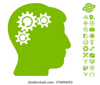 Mind Gear Rotation icon with bonus uav service pictograph collection. Vector illustration style is flat iconic symbols on white background.