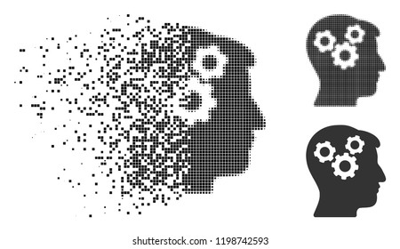 Mind gears icon in disappearing, pixelated halftone and undamaged solid versions. Pixels are composed into vector disappearing mind gears symbol. Disappearing effect uses rectangle dots.