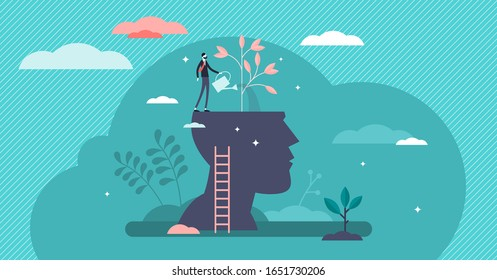 Mind growth progress concept, flat tiny person vector illustration. Head silhouette with businessman growing symbolic knowledge plant. Brain process and intellectual activity improvement strategy.