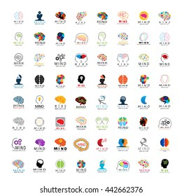 Mind Icons Set - Isolated On White Background - Vector Illustration, Graphic Design.