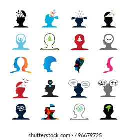Mind Icons Set - Isolated On White Background - Vector Illustration, Graphic Design. For Web, Websites, Print, Presentation Templates, Mobile Applications And Promotional Materials