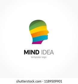 Mind logo stripes and face coloful