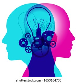 The mind machine of thinking - A male and female side silhouette positioned back to back, overlaid with various semi-transparent light bulbs and gears shapes.