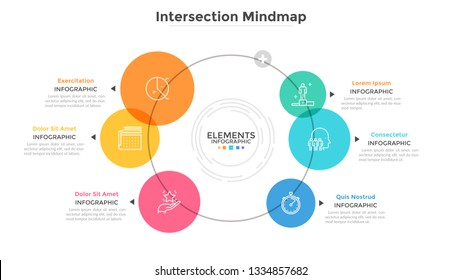 Mind map diagram with 6 intersected colorful translucent round elements. Modern infographic design template. Flat vector illustration for data visualization, business information analysis, report.
