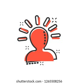 Mind people icon in comic style. Human frustration vector cartoon illustration pictogram. Mind thinking business concept splash effect.