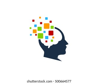 Mind Pixel Brain Logo Design Template