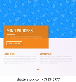 Mind process concept with thin line icons set: intelligence, passion, conflict, innovation, time management, exploration, education, logical thinking. Modern vector illustration for web page.