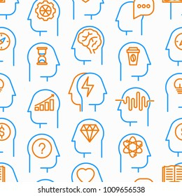 Mind process seamless pattern with thin line icons: intelligence, passion, conflict, innovation, time management, exploration, education, logical thinking. Modern vector illustration.