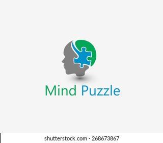 Mind Puzzle vector logo and symbol Design