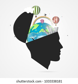Mind of traveler. Creative concept with open head. Vector illustration