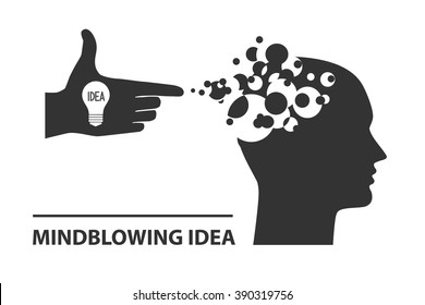Mind-Blowing idea conceptual vector illustration. Mind blows out when a great idea comes inside your brain.