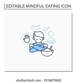 Mindful eating line icon. Unconscious nutrition. Overeating. Eat through loneliness. Healthcare concept. Isolated vector illustration.Editable stroke