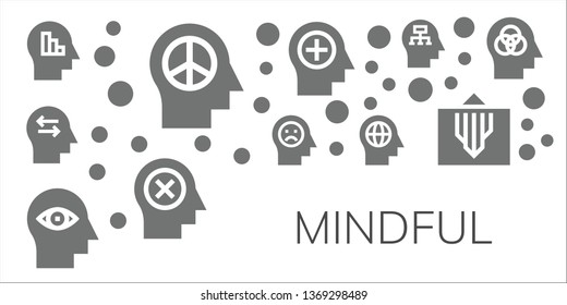 mindful icon set. 11 filled mindful icons.  Simple modern icons about  - Mind