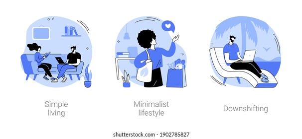 Mindful lifestyle abstract concept vector illustration set. Simple living, minimalist lifestyle, downshifting, slow living, reduced consumption, find balance, no stress life, escape abstract metaphor.