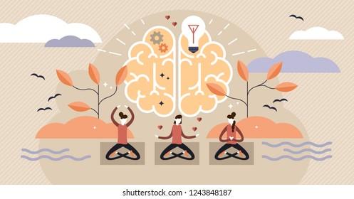 Mindfulness flat vector illustration. Mentally healthy exercise with yoga pose. Spiritual body training knowledge for peaceful, creative, and harmony woman. Intelligent people group learning harmony.