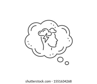 Mindfulness line icon. Chat bubble design. Psychology sign. Cloud storm symbol. Outline concept. Thin line mindfulness stress icon. Vector