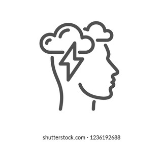 Mindfulness line icon. Psychology sign. Cloud storm symbol. Quality design flat app element. Editable stroke Mindfulness stress icon. Vector