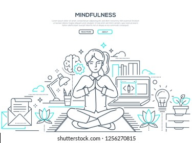 Mindfulness - modern line design style web banner on white background with copy space for text. Composition with a woman meditating in lotus position at work in the office, trying to release stress