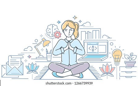 Mindfulness - modern line design style colorful illustration on white background with copy space for text. Composition with a woman meditating in lotus position in the office, trying to release stress